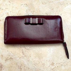 COACH Purple Darcy Bow Accordion Zip Around Wallet